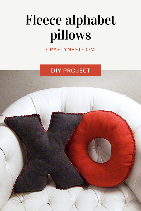 Crafty Nest fleece alphabet pillows Pinterest image