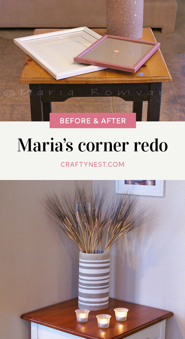 Crafty Nest Maria's corner redo Pinterest image, photo