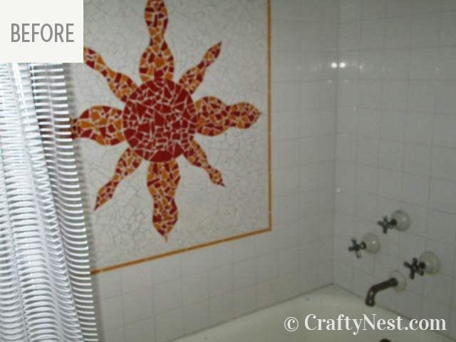 Mosaic sun in the shower, photo