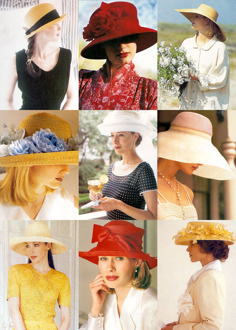 Photos of nine summer hats from Victoria magazine
