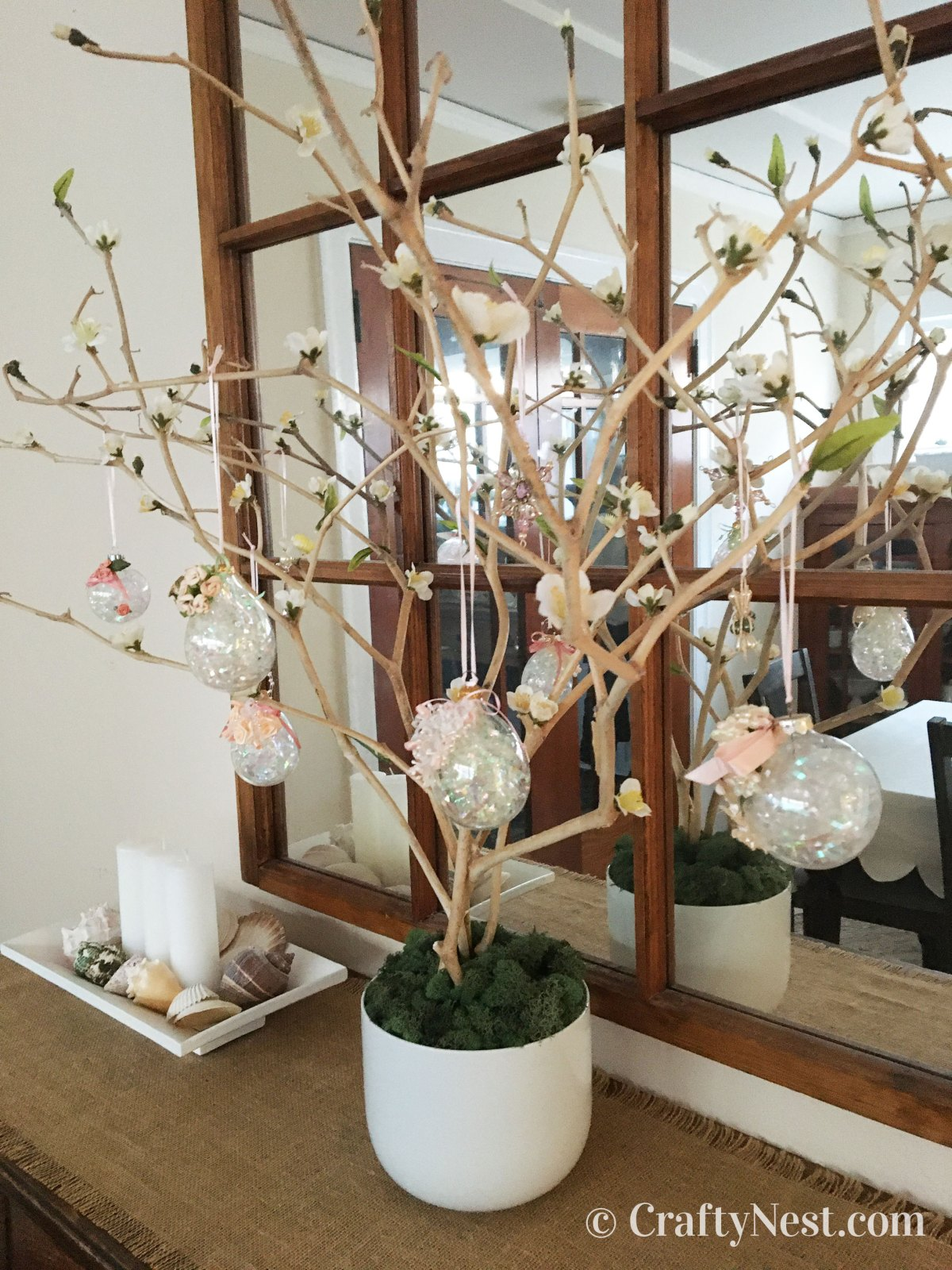 Easter tree displayed in front of a mirror, photo