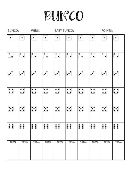 10 game bunco score sheet