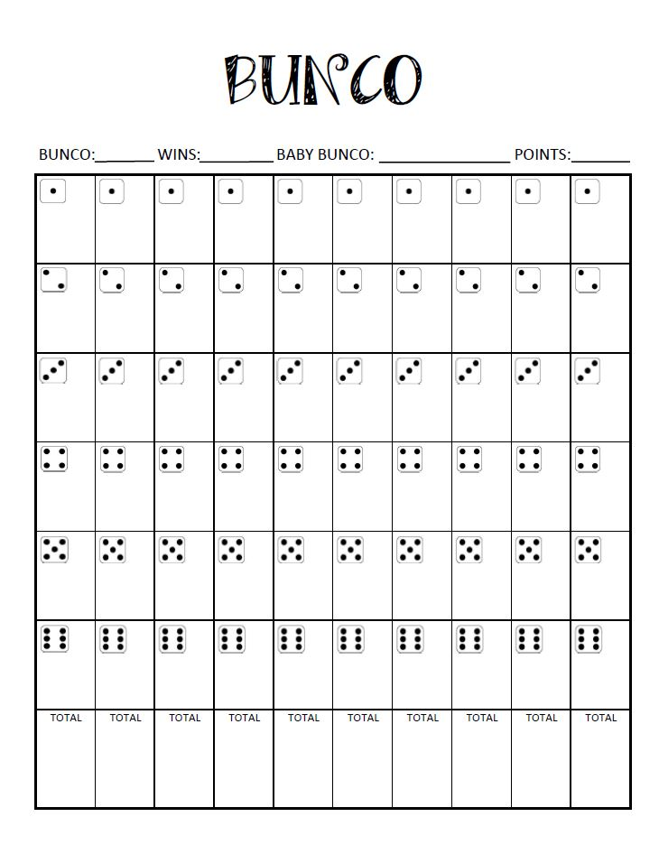 It's just a picture of Decisive Printable Bunco Sheets
