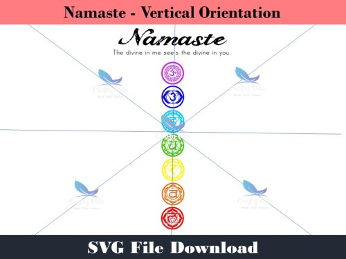 "Namaste - The divine in me see's the divine in you.  When the world is your canvas, decorate it with beauty. In this design file I give you a vertical and horizontal orientation of the word ""Namaste and the chakra symbols.You can create your own signs, shirts, water bottles, the possibilities are endless. In your download you will get SVG's, JPEG's, and PDF's of both orientations."