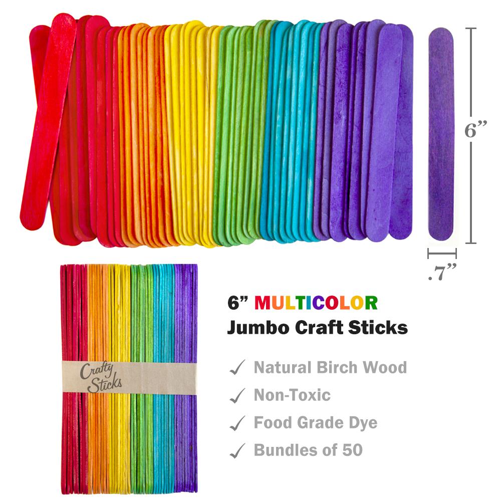 Jumbo Multi Colored Craft Sticks