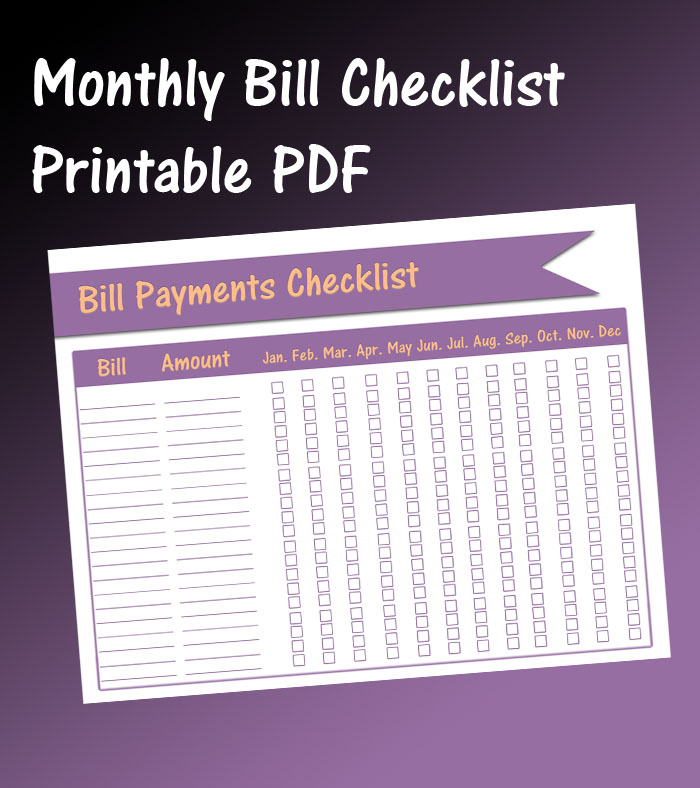 monthly bill payment checklist free printable