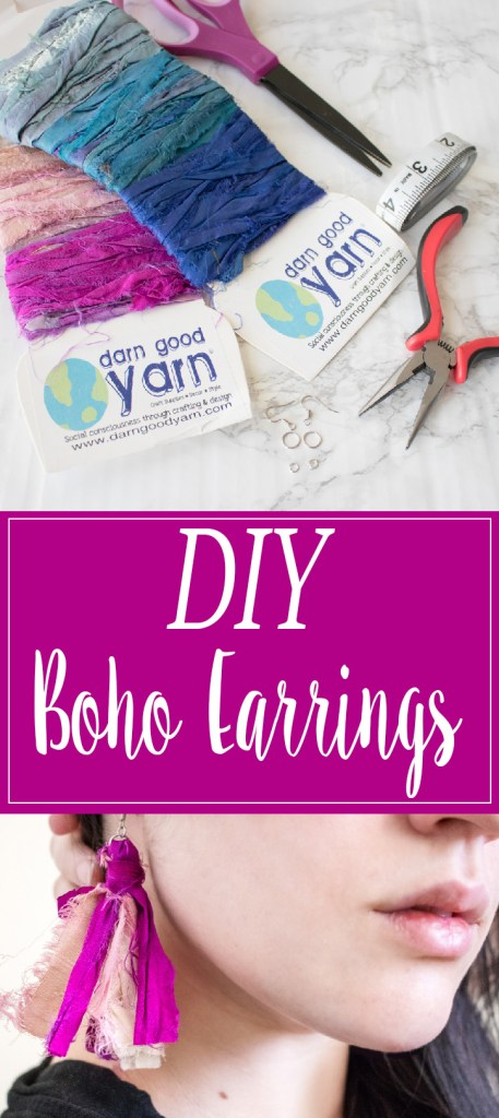 Make your own tassel earrings, following the video tutorial or photo tutorial for these DIY boho earrings with ribbon yarn.