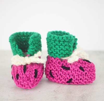 EASY Watermelon Baby Booties Knitting Pattern