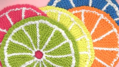 Knitted Fruit Dishcloth Citrus Slice