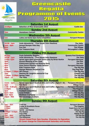 Greencastle of Regatta 2015 Programme of Events