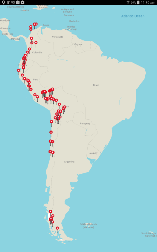 All the places I visited in South America during 2015