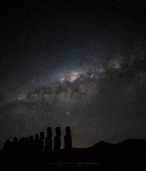 Ahu Tongariki Over Looking the Milky Way