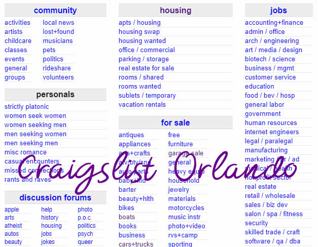 Craigslist Orlando  wwwcraigslistcom Orlando