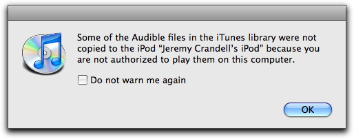 iTunes Audible Error modal window