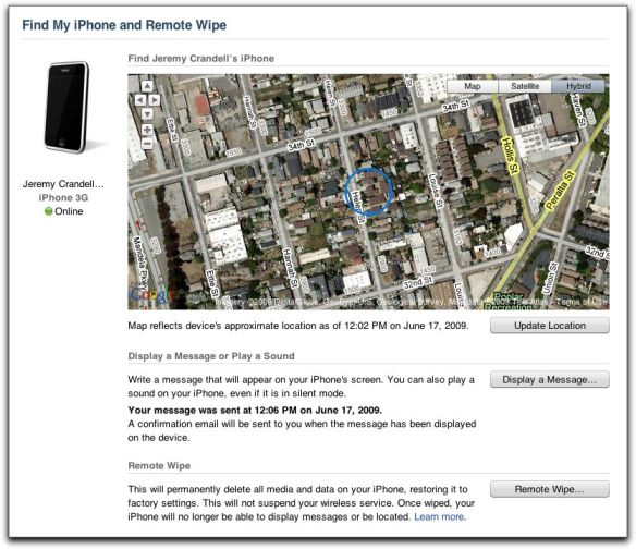 MobileMe Find My iPhone