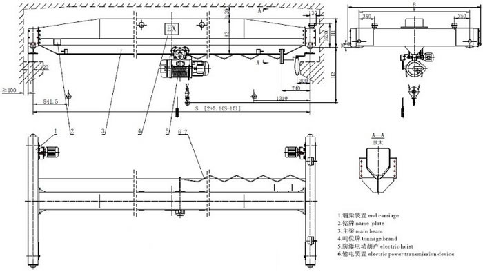 Explosion proof single girder overhead crane- Overhead