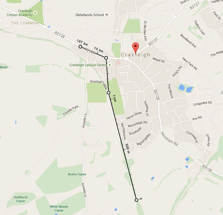 Distance displayed on map fromCrest Nicholson Chantreys site via Downs Link