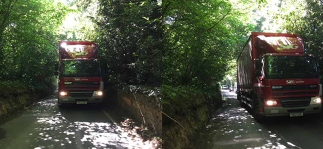 Narrow Lanes blocked by Cala Homes lorries