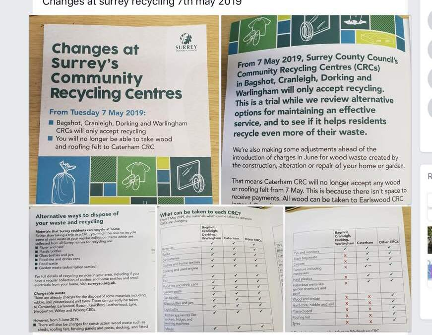 """""""dump"""" before 7th May! Cranleigh Recycling Centre notice"""