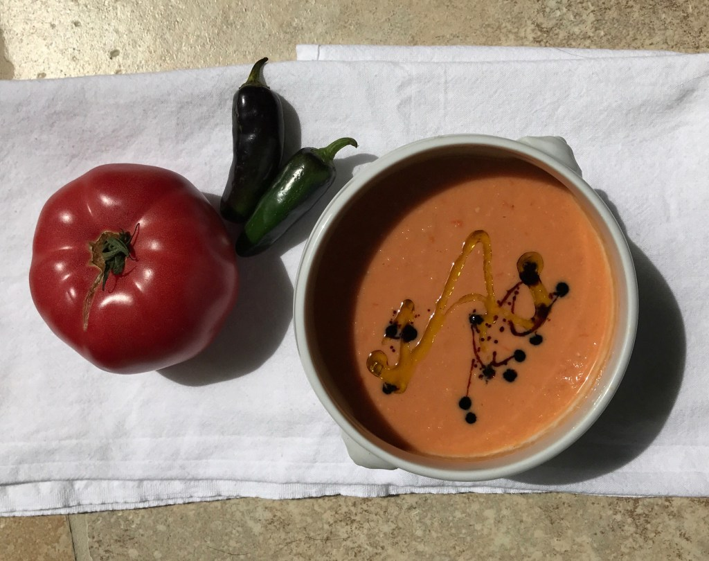 Crate cooking summer simple ingredients gazpacho nectarines jalapeno tomato simple croutons