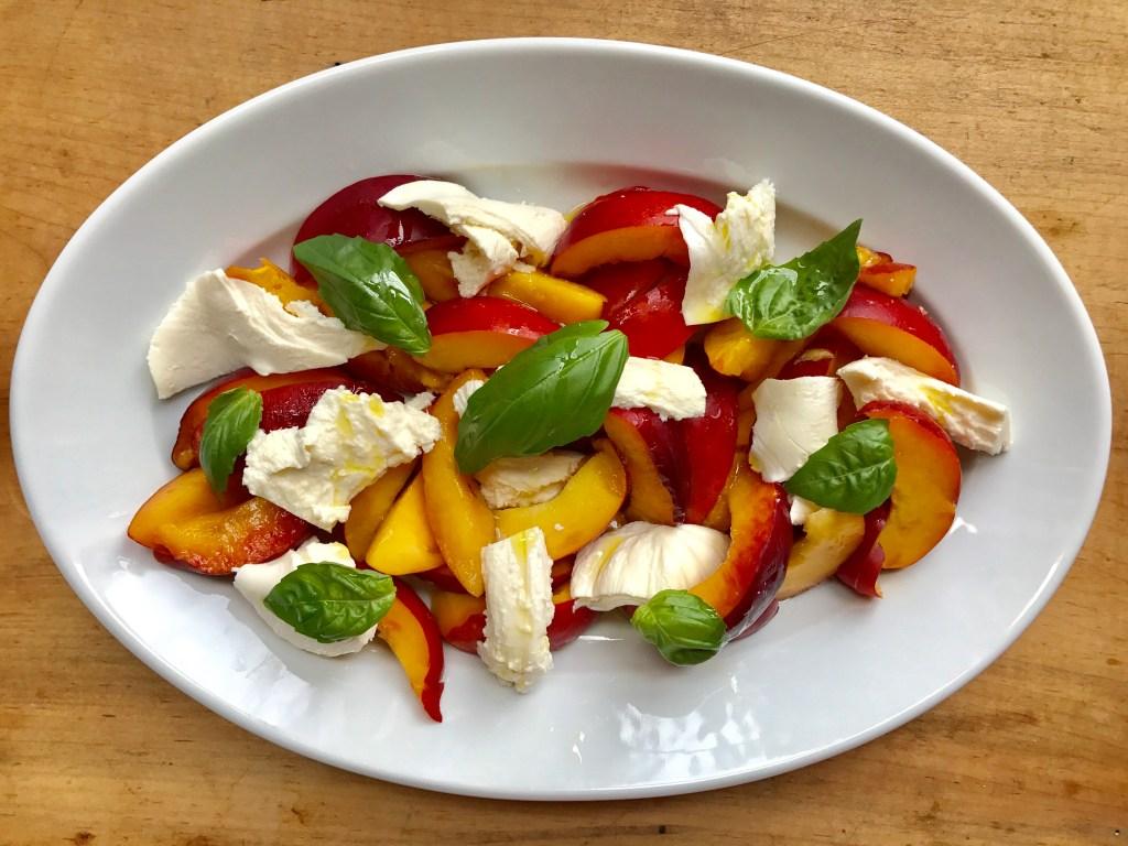 Crate cooking summer simple ingredients 3 way recipes nectarine mozzarella salad basil