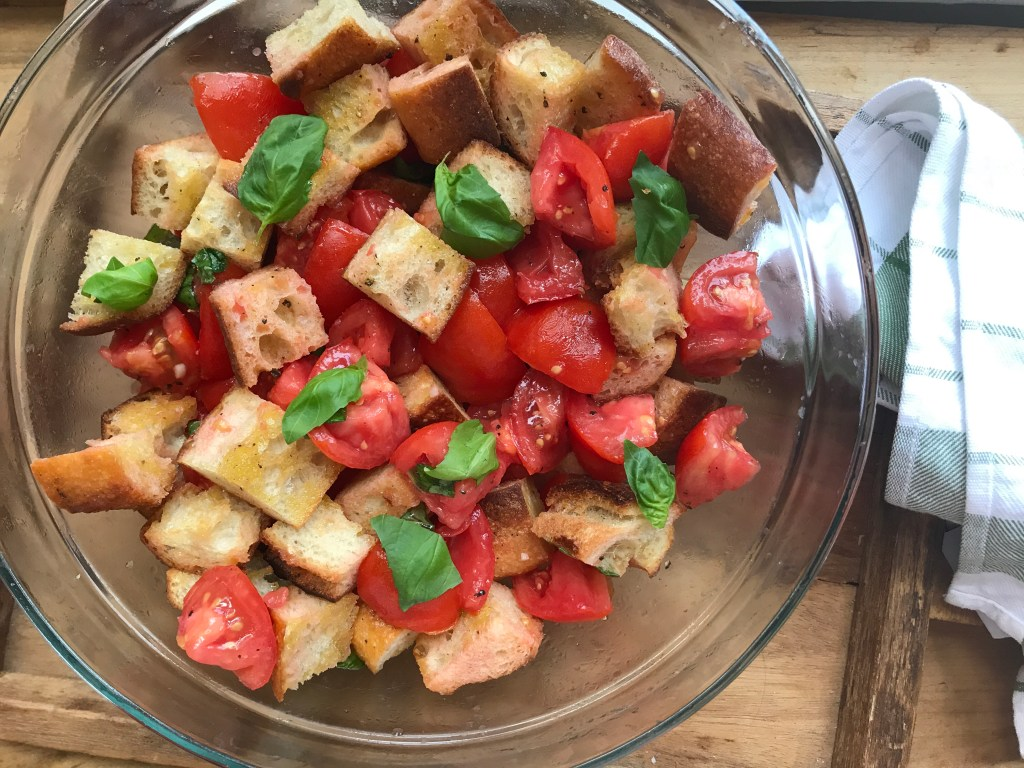 Crate cooking summer simple ingredients 3 way recipes panzanella salad tomatoes bread