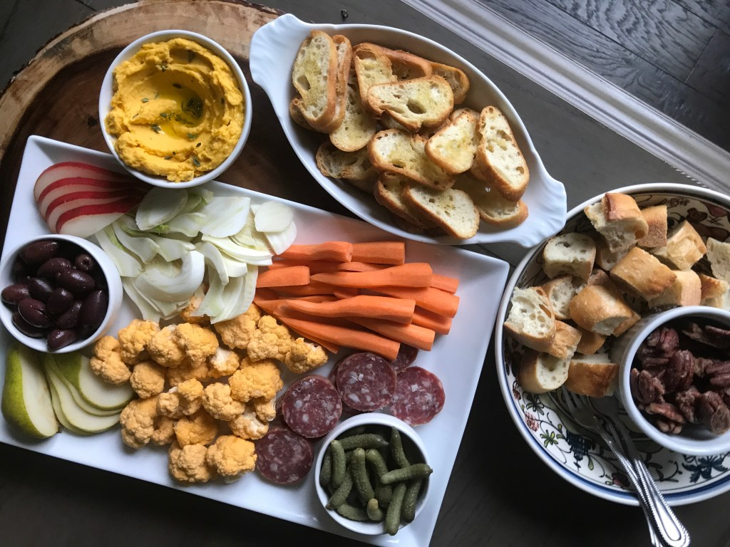 Crate Cooking Fall Autumn appetizers Easy Basic Simple Recipes Ingredients Roasted Squash Dip Crudites