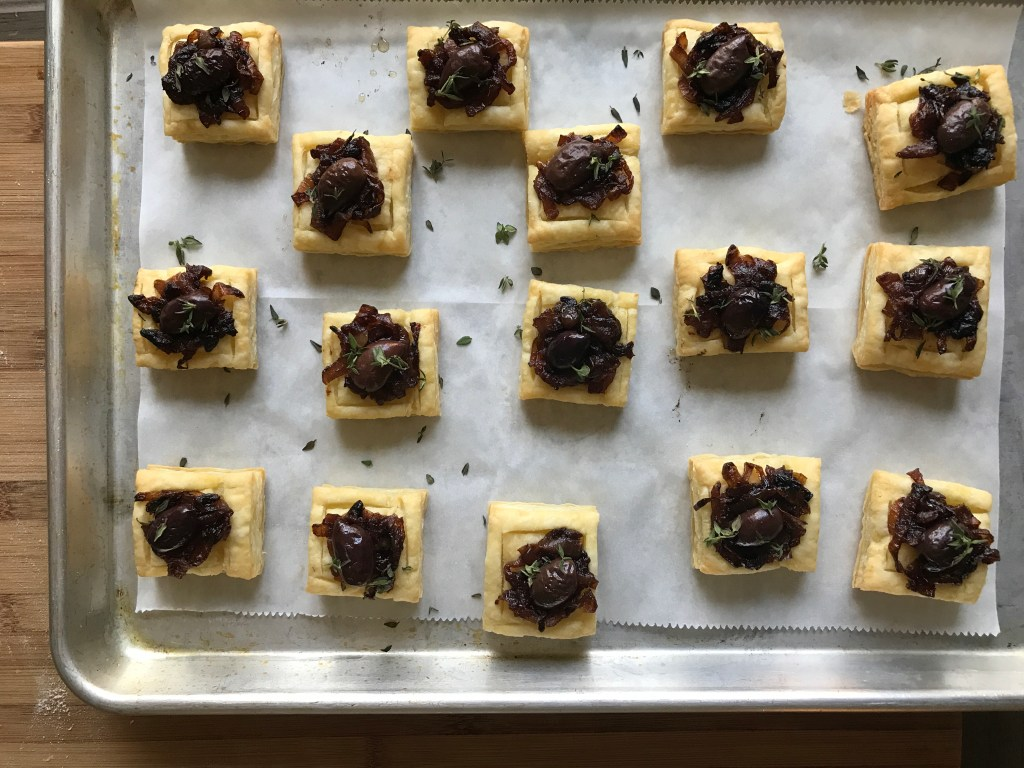 Crate Cooking Fall Autumn appetizers Easy Basic Simple Recipes Ingredients Seasonal Baked Caramelized Onion Olive Tartlets