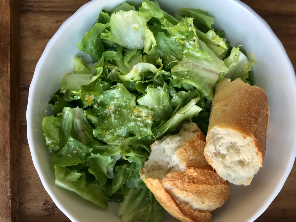 crate cooking spring winter seasonal recipe simple easy valentine's meal husband wife cook escarole salad lemon vinaigrette