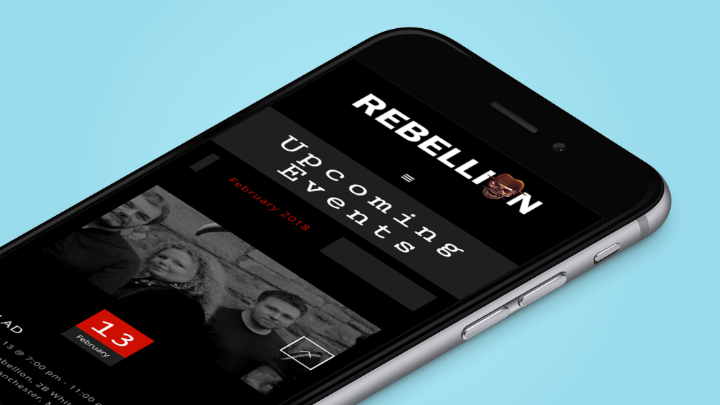 Website design for Rebellion club Manchester