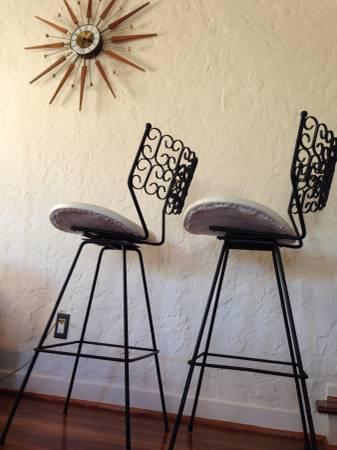 iron patio chair parson chairs with skirts arthur umanoff granada swivel bar stools