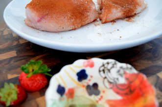 Cinnamon Paprika Crusted Chicken and Balsamic Roasted Strawberries-010