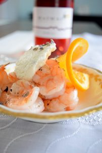 Grilled Shrimp with Cardamom Orange Lavender Cream-001