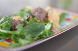 Green Chili Meatballs with Polenta Croutons-005