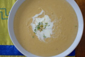 Chestnut Apple Soup with Whipped Lemon Thyme Cream