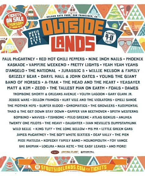 2013 Outside Lands Lineup