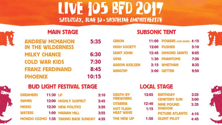 BFD Set Times 2017 Live 105 Lineup