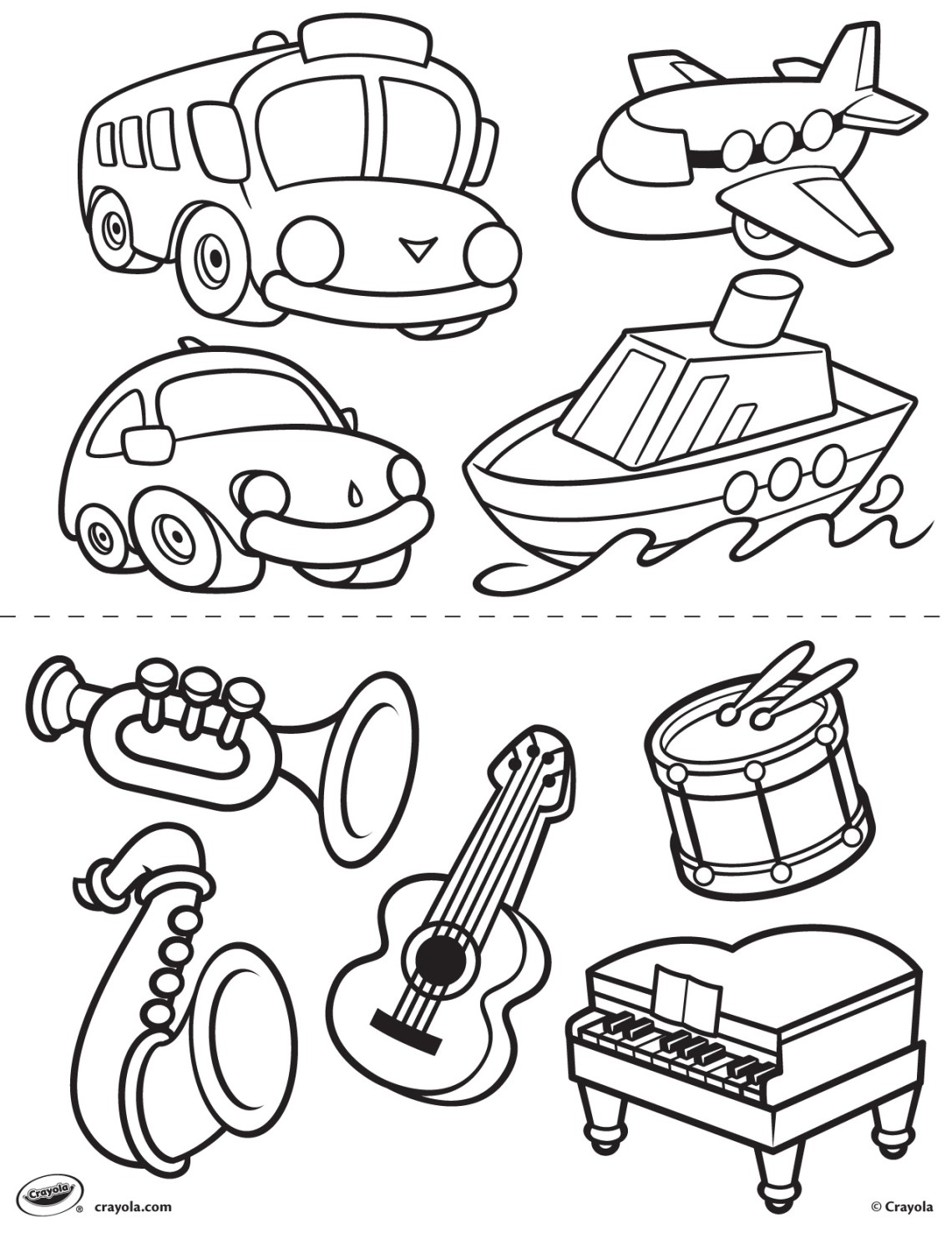 First Pages - Transportation and Instruments Coloring Page ... | transportation coloring pages for preschool