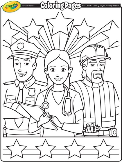 Labor Day Workers Coloring Page