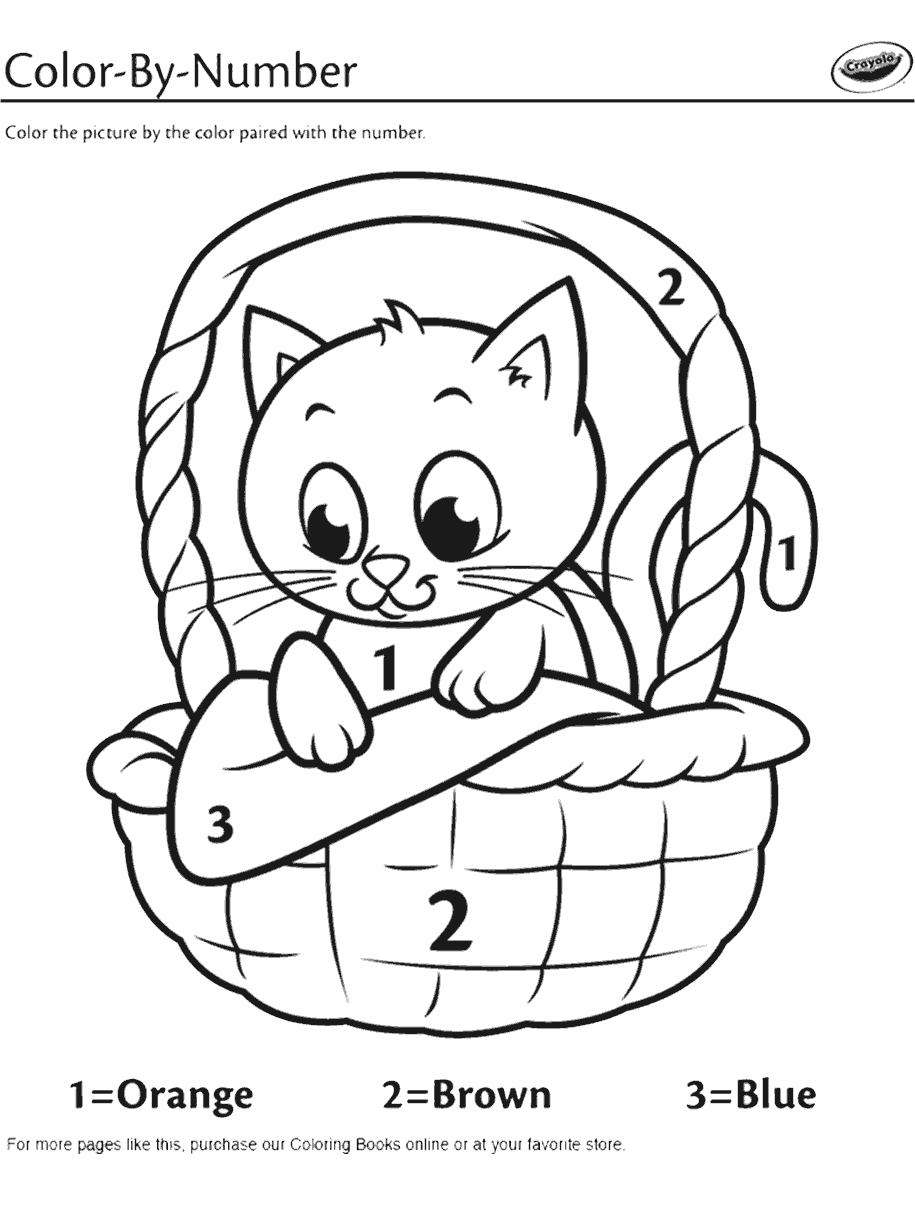 Kitten In A Basket Color By Number Coloring Page Crayola Com