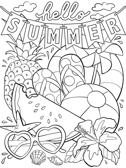 hello summer coloring page