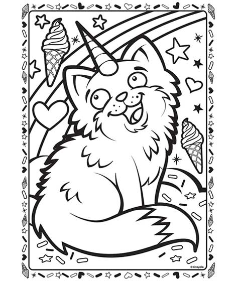 Uni Kitty Coloring Page Crayola Com