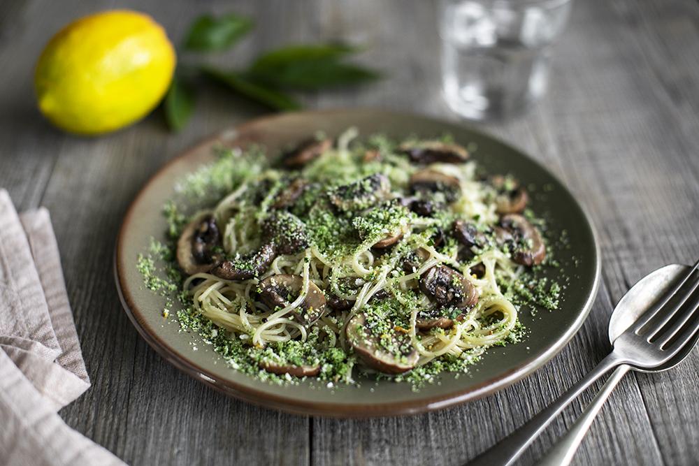 Lemon Angel Hair Pasta with Hawke's bay Mushrooms and Parsley Breadcrumbs. Vegan recipe.