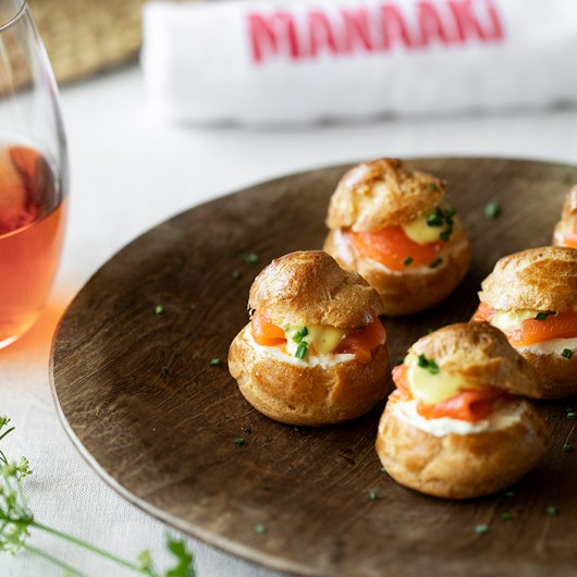 Choux Puffs with Smoked Salmon and Lemon Sauce