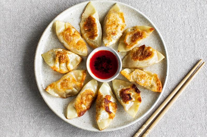 Easy kimchi and mushroom dumplings