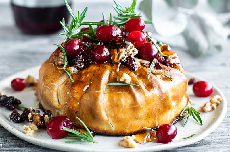Baked Brie in Puff Pastry with Nuts, Berries and Kawa Kawa Jelly.