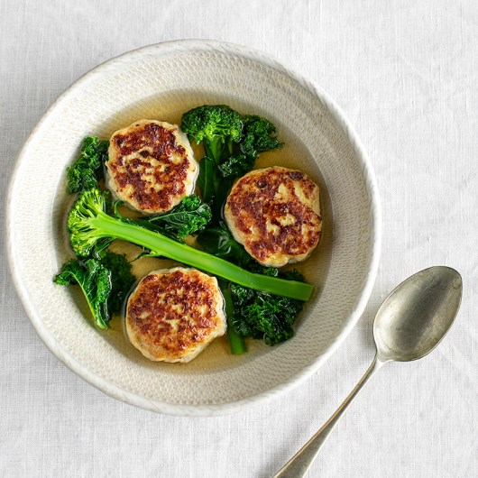 Chicken Meatballs and Green Vegetables in Flavourful Broth