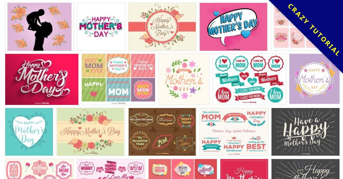 【母親節圖案】135套 Illustrator 母親節卡片圖案免費下載   天天瘋後製