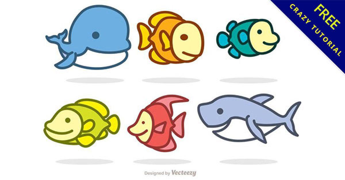 【魚卡通】乾貨推薦:19套可愛的卡通魚圖案下載 - 天天瘋後製-Crazy-Tutorial