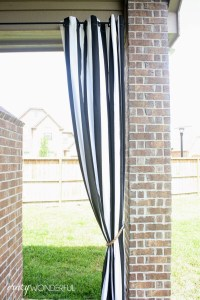 patio curtains + DIY rope tieback - Crazy Wonderful